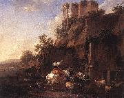 BERCHEM, Nicolaes Rocky Landscape with Antique Ruins oil painting picture wholesale